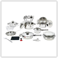 Longevity™ 32-Piece 9-Ply Stainless Steel Cookware Set