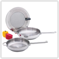 Maxam® 3-Piece Stainless Steel Fry Pans and Splatter Screen Cookware Set