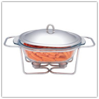 Maxam® Stainless Steel and Glass Oval Food Warmer Set