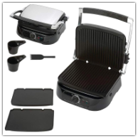 Maxam 4-Slice Panini Sandwich Grill With Detachable Trays