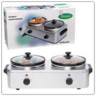 Maxam® 5-Quart Stainless and Ceramic Two Pot Slow Cooker