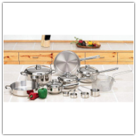 Chef's Secret® 16-Piece 5-Ply Stainless Steel Cooking Pans Set