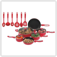 Chef's Secret® 16-Piece Red Aluminum Pots and Pans Set