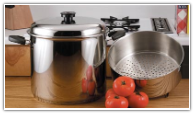 Precise Heat™ 24-Qt  9-Element Waterless Stock Pot with Deep Steamer Basket