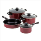 Burgundy 7-Piece Nonstick Stainless Cookware Set