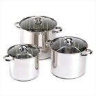 6-Piece Stainless Steel Stock Pot Set