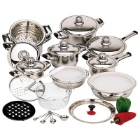 28-Piece 12-Element Stainless Steel Waterless Cookware Set