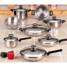 Chef's Secret® 14-Piece T304 Stainless Steel Waterless Cookware Set