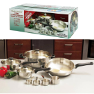Chef's Secret® 11-Piece Stainless Steel Cookware Set with Glass Lids