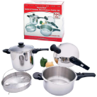 Precise Heat™ 5-Piece T304 Stainless Steel Pressure Cooker Set